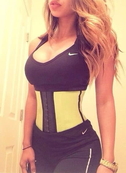 Woman with a waist trainer.